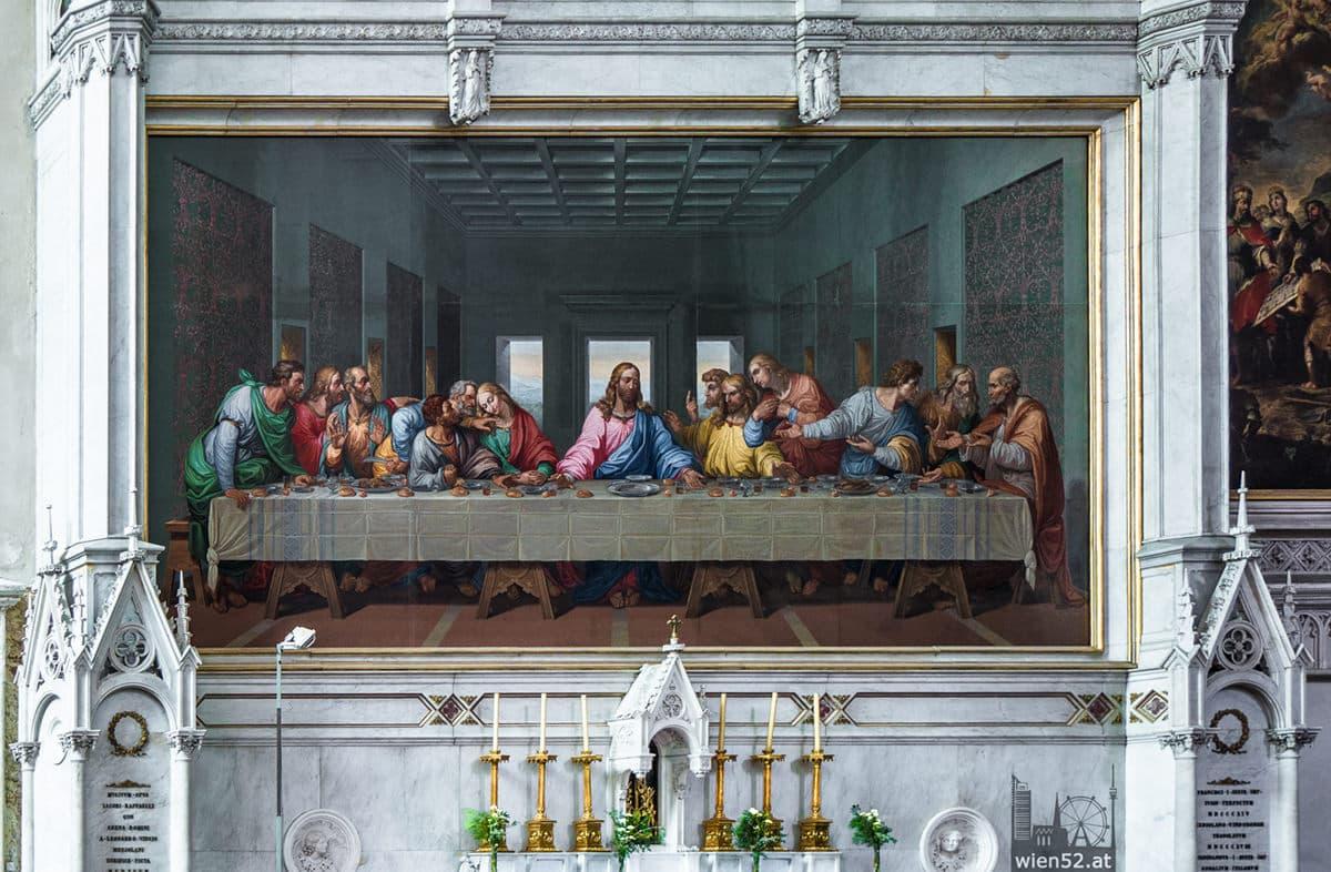Mosaikkopie von Leonardo da Vincis Letztem Abendmahl  Minoritenkirche