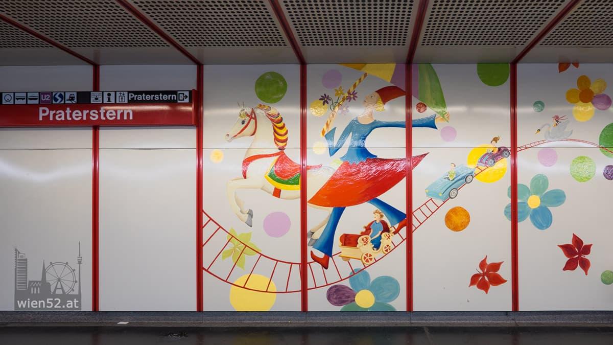 Wandbild 'Einen Traum träumen...'  Bahnsteig U1 Praterstern