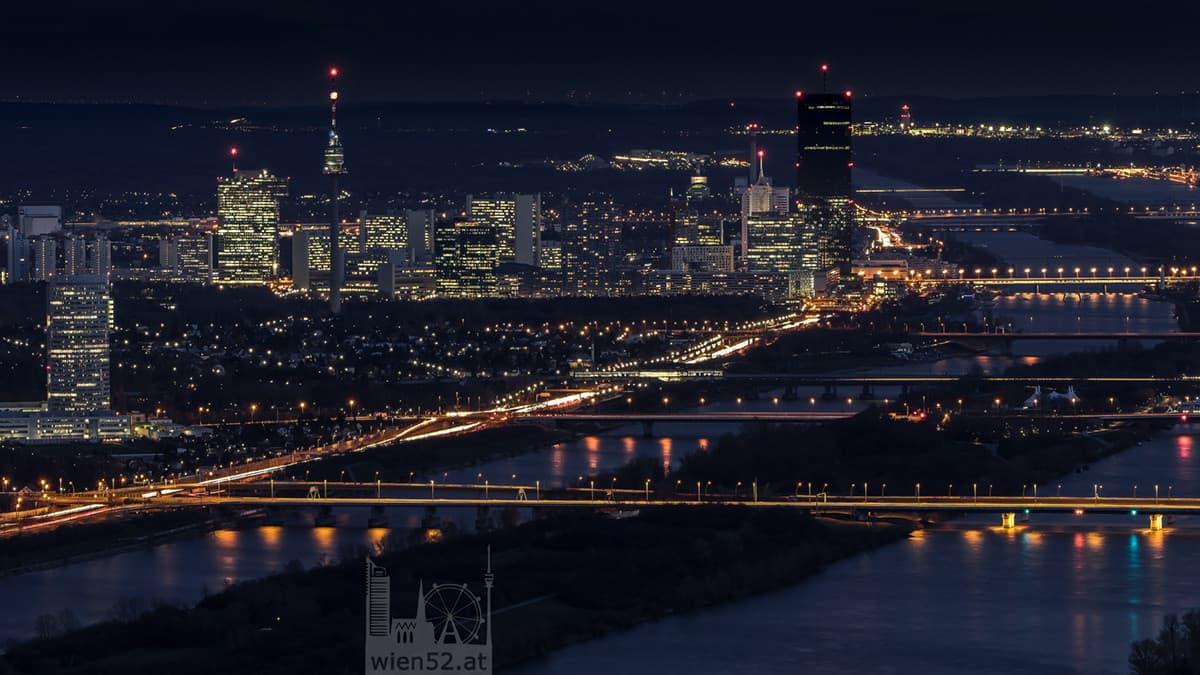 Nördliches Wien bei Nacht