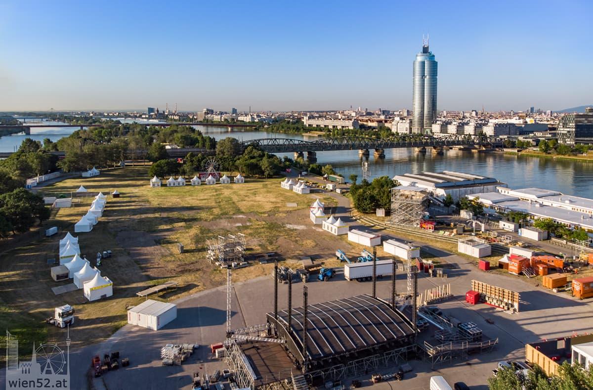 Donauinselfest Aufbau